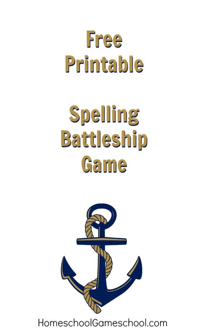 Free Printable  Spelling Battleship Game