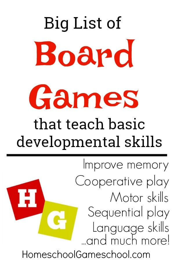 Board Games that Teach Developmental Skills. Improve memory, motor skills, language skills, cooperation, and much more!