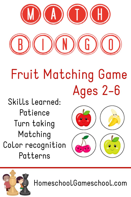 Fruit Matching Bingo - Printable Toddler & Preschool Game - Gameschooling & Secular Homeschooling at HomeschoolGameschool.com