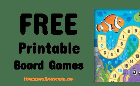 Free Printable Board Games - Gameschooling @ HomeschoolGameschool.com