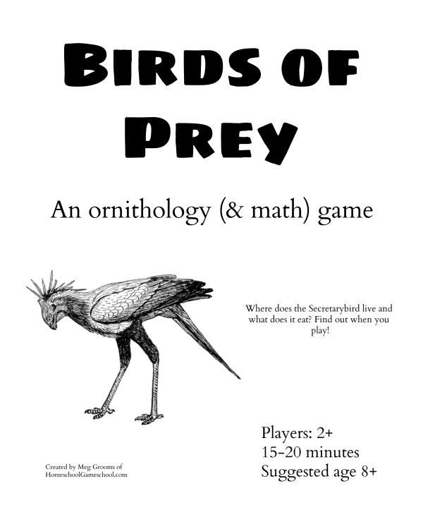 Birds of Prey - a printable math game, bird game - Gameschooling @ HomeschoolGameschool.com