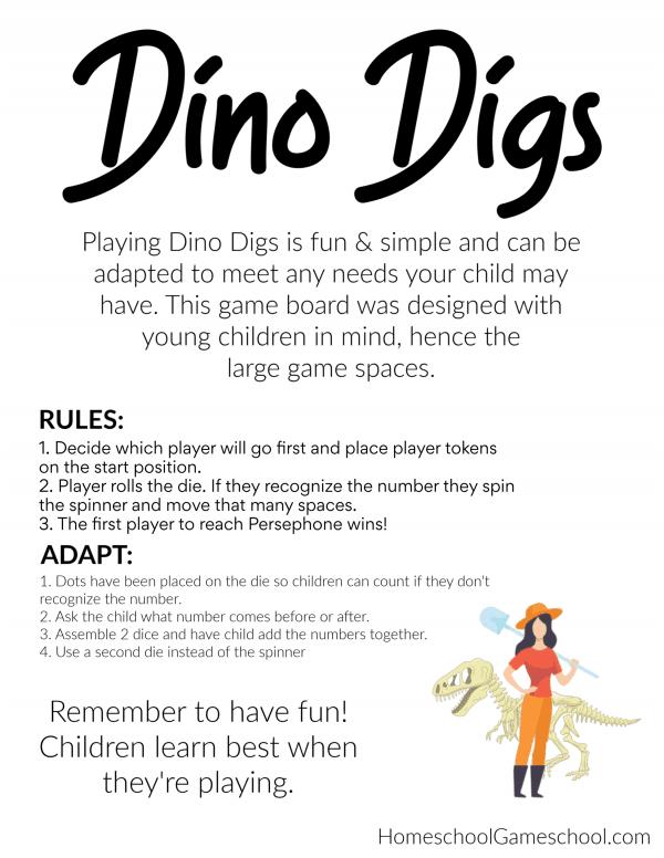 Dino Digs - Free educational game, printable dinosaur game, preschool game - Gameschooling @ HomeschoolGameschool.com
