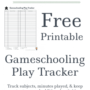Free Printable Gameschooling Log