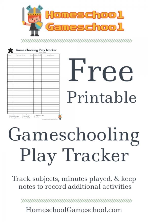 Free Printable Gameschooling Log