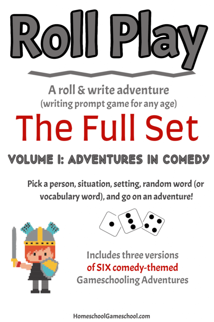 Roll Play volume 1, a comedy-themed printable writing game