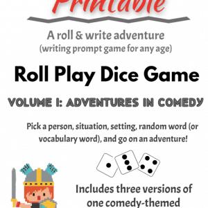 Free Roll & Write Game, Printable MINI Set of Vol. 1: Comedy