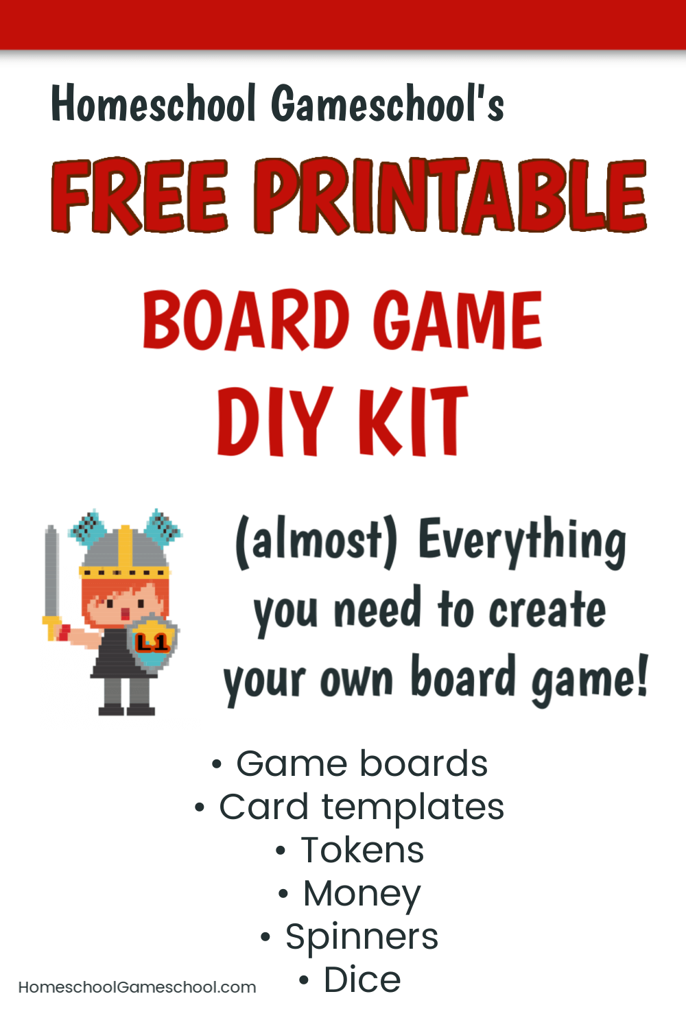 Free Printable Board Game DIY kit for making your own board games!