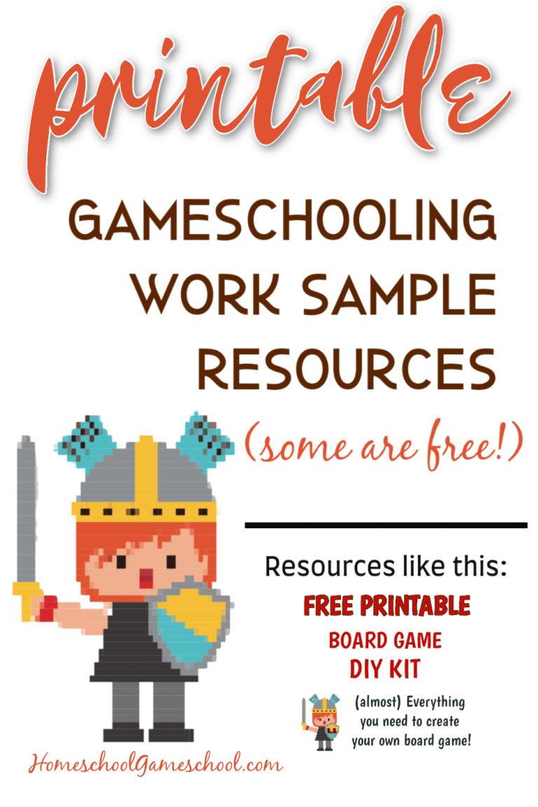 Printable Gameschooling Work Sample Resources