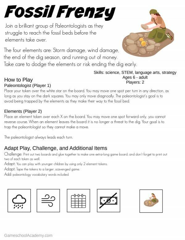 Free Printable Paleontology Game