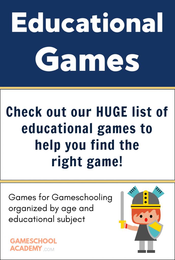 Huge list of educational games for gameschooling