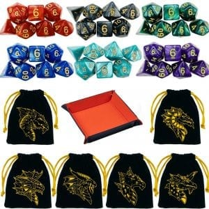 Set of 6 Polyhedral Dice, D&D dice